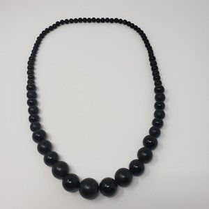 Black Graduated Bead Long Chunky Necklace Vintage